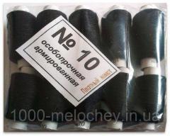 Нитки особопрочные армированные полиэстеровые №10, черные, упаковка 10 шт. (25мм)