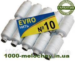 Нитки швейные особо прочные EVRO №10 белые, полиэстер, (10 катушек)