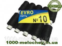 Нитки швейные особо прочные EVRO №10 черные, полиэстер, (10 катушек)