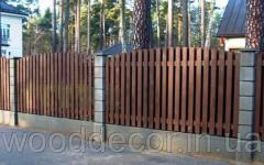 Деревянный забор штакетник «Волна»