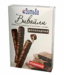 Wafer tubules of Vivayli chocolate in dairy glaze