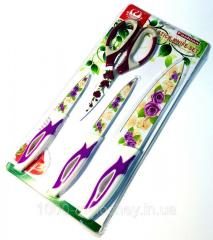 Набор кухонных ножей металлокерамика 3 ножа...