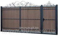 Ворота распашные из террасной доски ПВХ