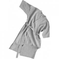 Халат льняной для бани и сауны X, XL, XXL, Серый