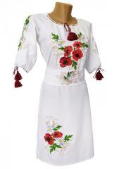 Украинское женское вышитое платье с коротким