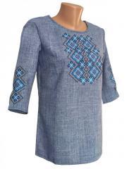 Вышитая женская блуза в цвете джинс с