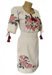 Украинское вышитая платье до колен с льна и