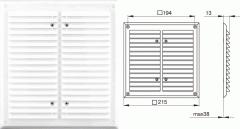 Вентиляционная решетка - 215х215 мм, арт.1111А