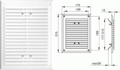 Вентиляционная решетка - 215х175 мм, арт.1152