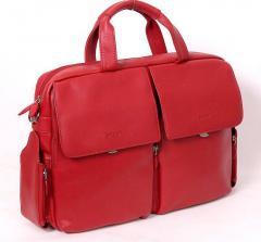Деловая женская сумка SHEFF красная натуральная