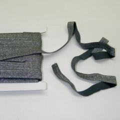 Трикотажная окантовочная бейка с люрексом (эластичная, стрейч) 1,5см х 25ярдов (темно-серая) (653-Т-0440)