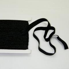 Трикотажная окантовочная бейка с люрексом (эластичная, стрейч) 1,5см х 25ярдов (черная) (653-Т-0438)