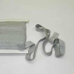 Трикотажная окантовочная бейка с люрексом (эластичная, стрейч) 1,5см х 25ярдов (светло-серая) (653-Т-0439)