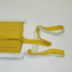 Трикотажная окантовочная бейка с люрексом (эластичная, стрейч) 1,5см х 25ярдов (желтая) (653-Т-0442)