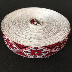 На отрез кратно 1 м. лента 3см (тесьма с узором национальная) с украинским орнаментом красный ромб (657-Л-0522)