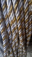 Декоративный шнур для натяжных потолков, БЕЛЫЙ С ЗОЛОТОМ 10 мм (1-2123-04)