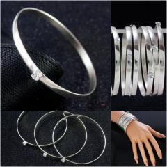 (12шт) Набор браслетов d=6,5см со стразом (5 мм ширина) Цвет металла - серебро, цвет страз - белый (сп7нг-2360)