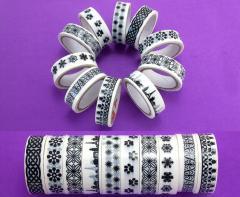 (10шт, набор) Чёрно-белый скотч декоративный (намотка 10метров) 15мм ширина. Принт - МИКС (сп7нг-2850)