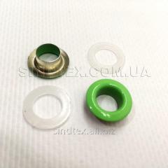 Люверс (Блочка) с пластиковым кольцом №5 зеленые D8мм (50шт) (СИНДТЕКС-0016)