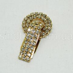 Шубный крючок-застежка (клипса) со стразами, золотой 5 см (653-Т-0027)