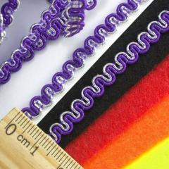 """(20 метров) Тесьма """"Змейка"""" с люрексом (ширина 5мм) Цвет - Фиолетовый (сп7нг-2174)"""