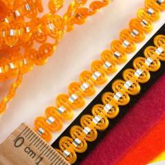 """(25 метров) Тесьма """"Стежок"""" (8мм ширина) с фольгированной лентой Цвет - Оранжевый (сп7нг-2112)"""