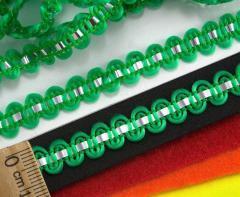 """(25 метров) Тесьма """"Стежок"""" (8мм ширина) с фольгированной лентой Цвет - Зелёный (сп7нг-2123)"""