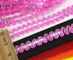 """(25 метров) Тесьма """"Стежок"""" (8мм ширина) с фольгированной лентой Цвет - Розовый (сп7нг-2126)"""