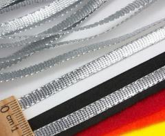 (100 метров) Шнур плоский металлизированный (5 мм ширина) Цвет - Серебро (сп7нг-2950)