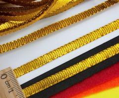 (100 метров) Шнур плоский металлизированный (5 мм ширина) Цвет - Золото (сп7нг-2951)