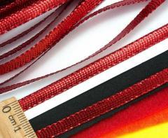 (100 метров) Шнур плоский металлизированный (5 мм ширина) Цвет - Красный (сп7нг-3013)