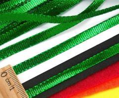 (100 метров) Шнур плоский металлизированный (5 мм ширина) Цвет - Зелёный (сп7нг-3014)