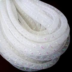 (28-30метров, D-10мм) Регилин трубчатый с люрексом. Цвет - белый (657-Л-0496)
