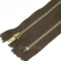 Застежка-молния металлическая 18 см, коричневая (серебро) (6-2426-В-100)