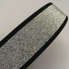 Жесткая резинка поясная 4см черная с серебрянным люрексом (653-Т-0479)