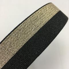 Жесткая резинка поясная 3,8см люрекс черная с золотом (653-Т-0476)