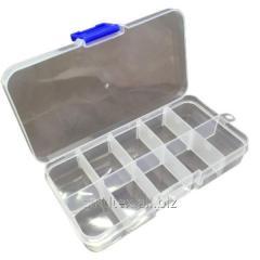 12,5х6,3х2,2см на 10 ячеек пластиковая тара (контейнер, органайзер) для рукоделия и шитья (657-Л-0676)