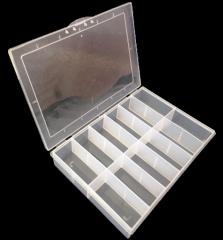 15х10,5х2см на 12 ячейки пластиковая тара (контейнер, органайзер) для рукоделия и шитья (657-Л-0701)