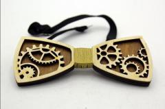 Деревянный галстук-бабочка Часовой механизм WBT-16