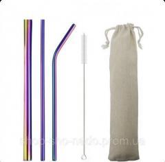 Металлические экотрубочки 3 шт + 1 ёршик и мешочек
