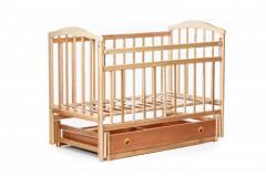 Детская кроватка «ЧАЙКА» с ящиком натур лак +регулировка боковины