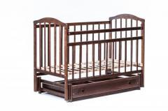 Детская кроватка «ЧАЙКА» с ящиком тонировка орех +регулировка боковины