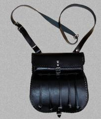 The game-bag is leather black