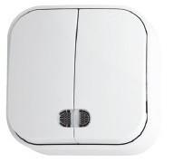 Выключатель 2-клавишный с подсветкой белый EVA