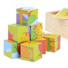 IE140 Деревянные кубики животные