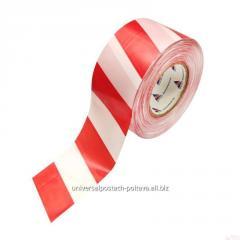 Лента оградительная полиэтиленовая бело-красная,