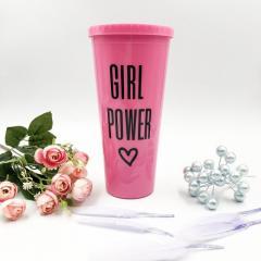 Стакан для напитков с трубочкой Girl Power 620ml
