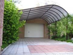 Canopy from a polikarbont for a car to buy terassa