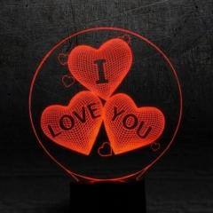 3D светильник Сердце I Love You светильник-ночник