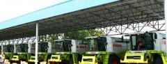 Canopies for storage of agricultural equipment.